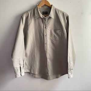 NWT United By Blue grey cotton canvas button down
